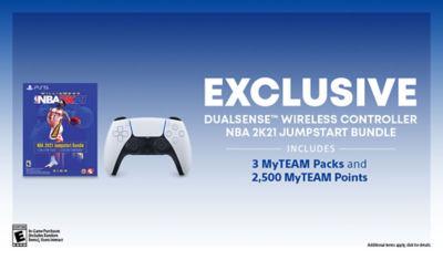 White DualSense wireless PS5 controller next to NBA 2K21 Jumpstart voucher