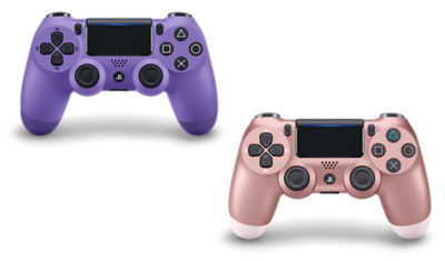PlayStation 4 DUALSHOCK®4 Rose Gold Wireless Controller and PlayStation 4 DUALSHOCK4 Electric Purple Wireless Controller
