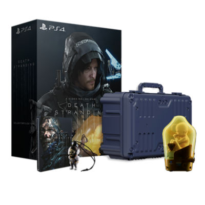 PS4 Death Stranding Collector's Edition box with contents laid in front