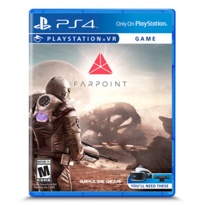 PS4 Farpoint game packaging art showing the back of a person in a spacesuit holding a rifle and looking out to a crashed spaceship on a deserted planet.