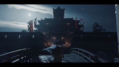 PS4 Ghost of Tsushima screenshot featuring Jin walking up to a temple