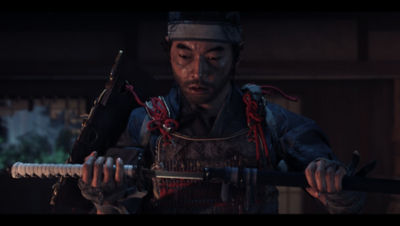 PS4 Ghost of Tsushima screenshot featuring Jin take his sword of the sheath