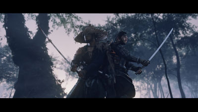 PS4 Ghost of Tsushima screenshot featuring Jin and another man getting ready to defend themselves