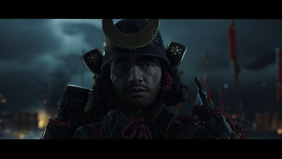 PS4 Ghost of Tsushima screenshot featuring close up of a Tsushima soldier