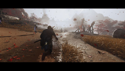 PS4 Ghost of Tsushima screenshot featuring Jin running into battle on a muddy road