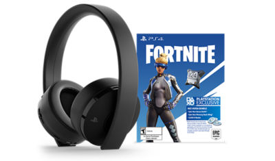 PlayStation Gold Wireless Headset (black color) with the Fortnite voucher