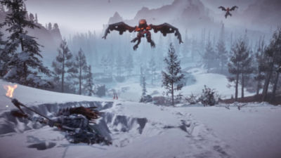 54 second video trailer highlighting Horizon Zero Dawn Frozen Wilds DLC on PS4