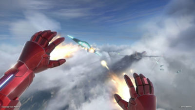 PSVR Marvel's Iron Man VR star Iron Man shoots down some planes with his repulsors.