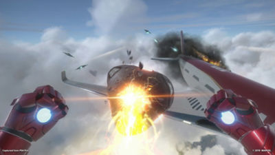 Iron Man, star of Marvel's Iron Man VR, shoots his unibeam at an oncoming enemy aircraft