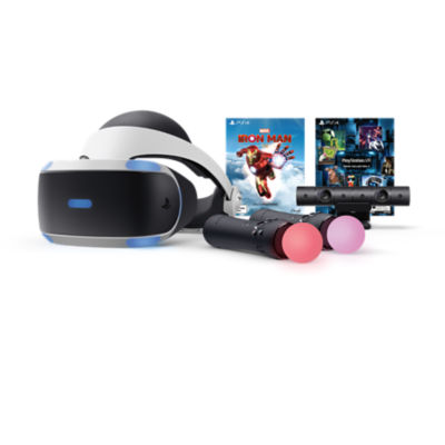 PlayStation VR Iron Man VR Bundle with PlayStation VR headset, PlayStation Camera, 2x PlayStation Move Controllers, Marvel's Iron Man VR game and Demo Collection