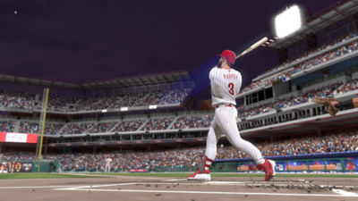 Image from MLB The Show 19 showing Bryce Harper hitting a home run.