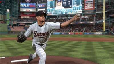 PS4 MLB The Show 19 screenshot featuring Houston Astros pitcher throwing a pitch at home