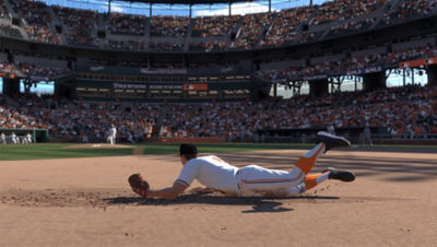 PS4 MLB The Show 19 screenshot featuring a Baltimore Oriole player diving for a ball