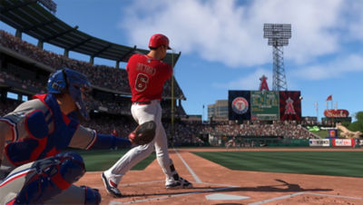 PS4 MLB The Show 20 screenshot featuring Anthony Rendon hitting the ball