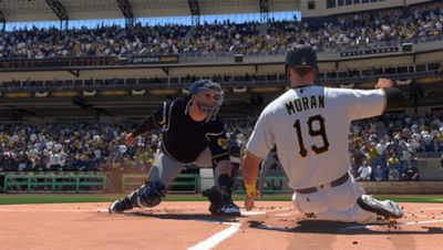 PS4 MLB The Show 20 screenshot featuring Colin Moran sliding into home plate with Brewers catcher waiting