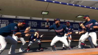 PS4 MLB The Show 20 screenshot featuring Minnesota Twins players celebrating in the dugout