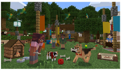 PS4 Minecraft image of friends and pets building and playing together