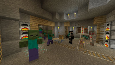 PS4 Minecraft screenshot featuring zombies and players inside a mineshaft with furnaces, ladder, rail tracks, torches and a box