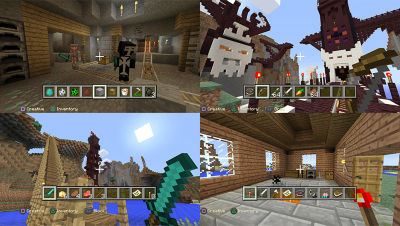 PS4 Minecraft screenshot featuring 4 split screen images from the game with players in a mineshaft, walking by a tower, in a house looking at the inventory you have and holding a sword by the water and a dock.