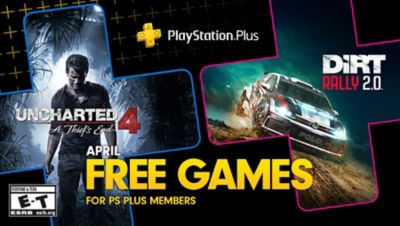 PlayStation Plus free games for the month, featuring Uncharted 4 and Dirt Rally 2.0 each super imposed onto plus symbols. There is a bonus game box in the bottom right corner for Firewall Zero Hour.