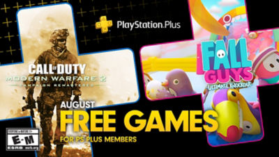 PlayStation Plus free games for the month, featuring Call of Duty: Modern Warfare 2 Campaign Remastered and Fall Guys Ultimate Knockout each super imposed onto plus symbols. There is a bonus game box in the bottom right corner for Firewall Zero Hour.