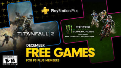 PlayStation Plus free games for the month, featuring Titanfall 2 and Monster Energy AMA Supercross, each super imposed onto plus symbols.