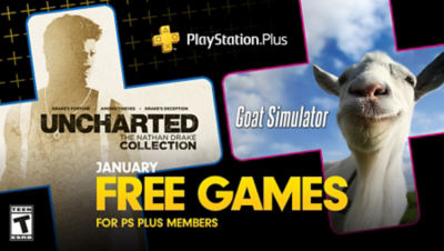 PlayStation Plus free games for the month, featuring Uncharted: The Nathan Drake Collection and Goat Simulator, each super imposed onto plus symbols.