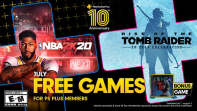 PlayStation Plus free games for the month, featuring NBA2K20 and Rise of The Tomb Raider each super imposed onto plus symbols. There is a bonus game box in the bottom right corner for Firewall Zero Hour.