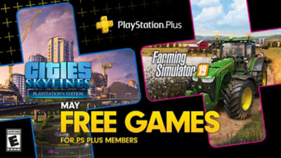PlayStation Plus free games for the month, featuring Cities Skylines and Farming Simulator 19 each super imposed onto plus symbols. There is a bonus game box in the bottom right corner for Firewall Zero Hour.