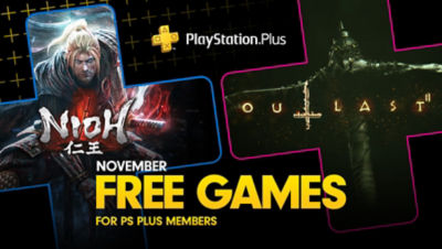 PlayStation Plus free games for the month, featuring Nioh and Outlast 2, each super imposed onto plus symbols.