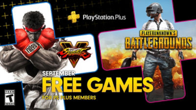 PlayStation Plus free games for the month, featuring Street Fighter V and PUBG each super imposed onto plus symbols. There is a bonus game box in the bottom right corner for Firewall Zero Hour.