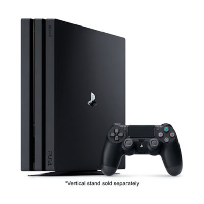 Refurbished PS4 Pro Console standing next to a jet black DualShock4 Controller