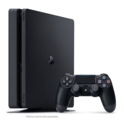Refurbished PS4 500GB Console standing next to a jet black DualShock4 controller