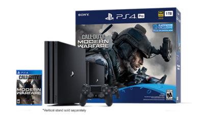 Image of the PlayStation 4 Pro console with the Call of Duty Modern Warfare gaame case, the DS4 controller and the Call of Duty themed box all of the contents come in