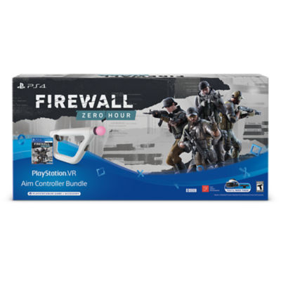 PlayStation VR Aim Controller Firewall Zero Hour Bundle box showing a SWAT-like team in tactical gear, a PlayStation VR Aim Controller and the box for Firewall Zero Hour game.