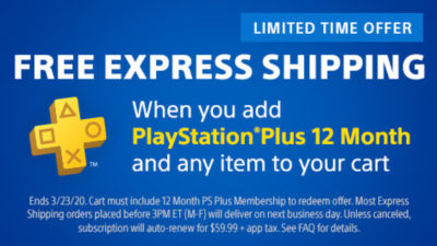 Free Express Shipping when you buy 12 months of PS Plus and any other item on PS Direct.