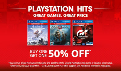 PlayStation Hits Buy One Get One 50% Off