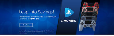 Banner with a link to our PS Now Deals landing page featuring items including bundling and savings options
