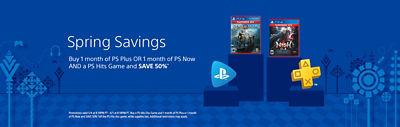 Buy 1 month of PS Plus or 1 month of PS Now and a PS Hits Game and Save 50%