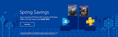Spring Savings banner featuring PS Plus, PS Now, and PS Hits games - Buy 1 month of PS Plus or PS Now and a PS Hits game and save 50%