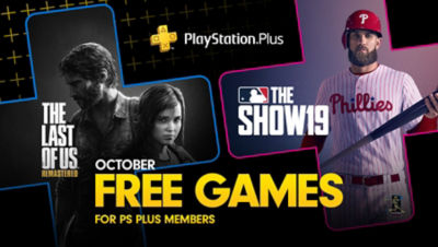 PlayStation Plus free games for the month, featuring The Last of Us Remastered and MLB The Show 19, each super imposed onto plus symbols.