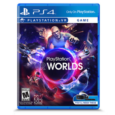 PlayStation VR Worlds box art showing the game title with a man on a luge, a shark, neon balls, a spaceship and another man reaching forward.