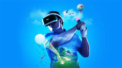 A man wearing a PlayStation VR headset holding a PlayStation Move controller with an Everybody's Golf VR golf course superimposed on his shirt and a golf ball flying out.