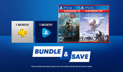 Bundle and save. PS Plus icon and PS Now icon placed next to PlayStation Hits games God of War and Horizon Zero Dawn.