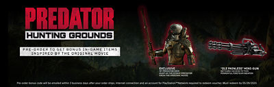 """Banner featuring preorder bonus items including an exclusive 1987 Predator skin and the """"Ole Painless"""" mini gun items inspired by the orifinal movie"""