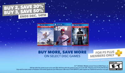 PS Plus Members Buy More, Save More on select games. Buy 2 Save 30%, Buy 3 Save 50%.