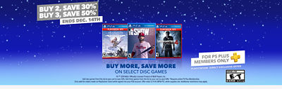 PlayStation Buy More Save More offer banner showing the games cases for Horizon Zero Dawn Complete Dawn, MLB the Show 19 and  Uncharted 4 A Thief's End