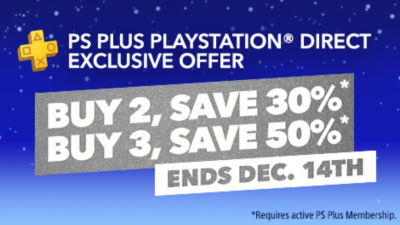 PS Plus Members Buy More Save More. Buy 2 select disc games and save 30%. Buy 3 select disc games and save 50%