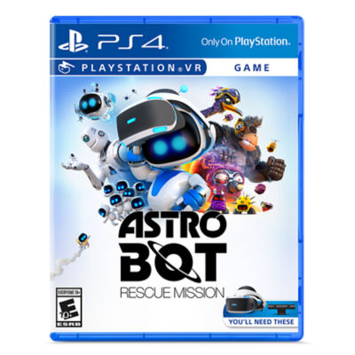 PSVR AstroBot: Rescue Mission box art with AstroBot holding VR hardware with his friends
