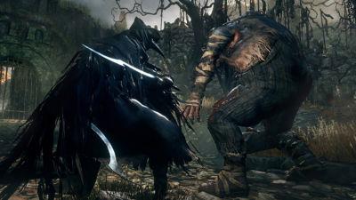 Bloodborne screenshot getting ready to fight a troll like creature